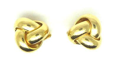 9ct Yellow Gold Small Three Way Knot Stud Earrings                          6239