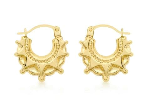 9ct Yellow Gold Star Patterned Creole / Hoop Earrings