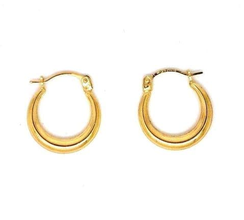 9ct Yellow Gold Tapered Small Plain Hoop Earrings with Snap Shut Bar Closure