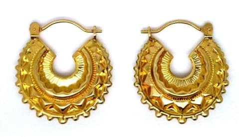 9ct Yellow Gold Victorian Style Creole Earrings with Snap Shut Bar Closure