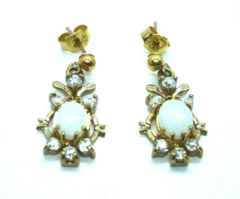 9ct Yellow Gold Vintage Real Opal and Zirconium Drop Stud Earrings