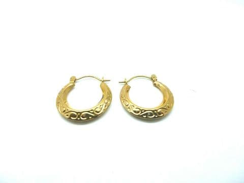 9ct Yellow Gold Vintage Victorian Style Embossed Small Creole Hoop Earrings