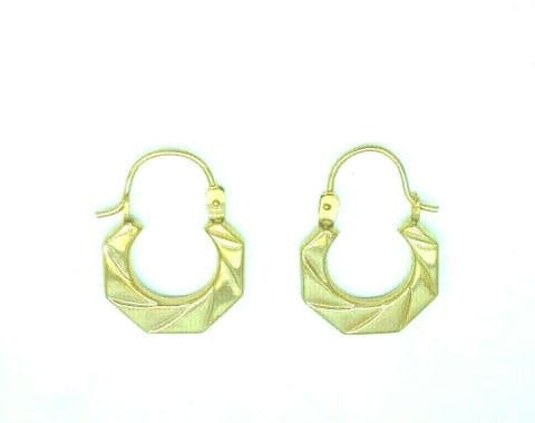 9ct Yellow Gold Vintage Victorian Style Patterned Small Creole Hoop Earrings