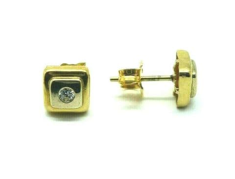9ct Yellow Gold White and Yellow Gold Square Shaped Earrings with White Zirconia