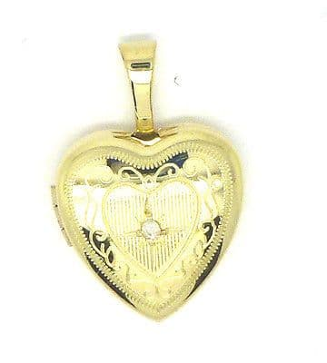 9ct Yellow / White / Rose Red Gold Heart Shaped Locket Set with Real Diamond