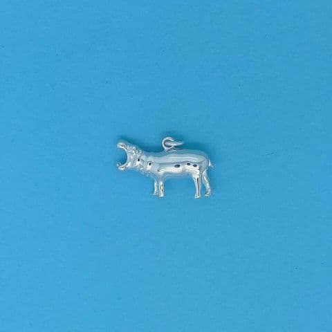 Genuine 925 Solid Sterling Silver Howling Hippo / Hippopotamus Charm