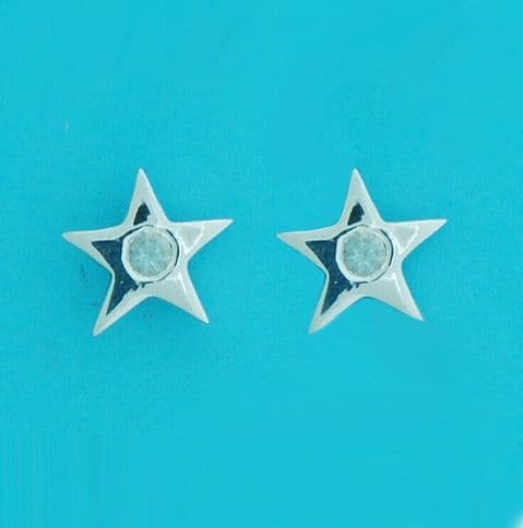 Genuine 925 Sterling Silver 12mm Flat Star Stud With 3mm Stone (In Asst Colours)