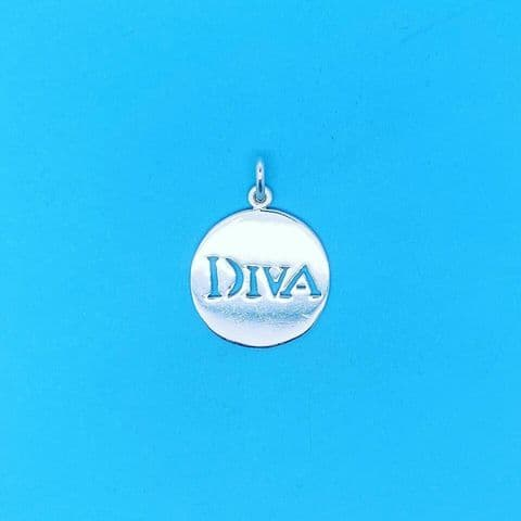 Genuine 925 Sterling Silver 20mm Diva Cut Out Tag Pendant