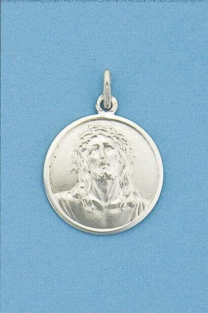Genuine 925 Sterling Silver 20mm Jesus Christ Coin Medallion Pendant