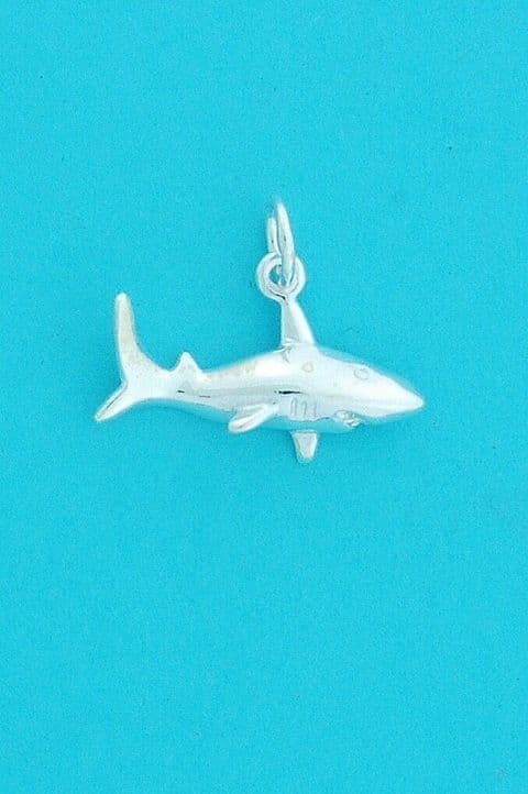 Genuine 925 Sterling Silver 21mm Killer Shark Charm / Pendant