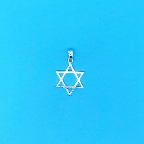 Genuine 925 Sterling Silver 22mm Cut Out Star Of David Pendant