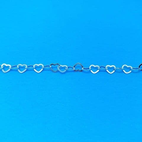 Genuine 925 Sterling Silver 7.5 Inch Cut Out Flat Linked Heart Bracelet