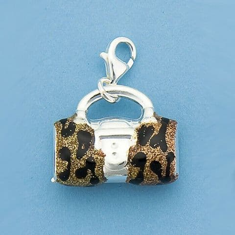 Genuine 925 Sterling Silver Barrel Handbag Charm With Glitter Print Finish