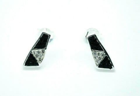 Genuine 925 Sterling Silver Black and White Geometric Crystal Stud