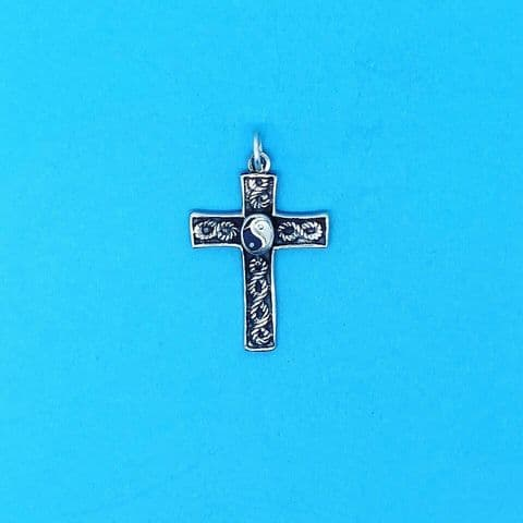 Genuine 925 Sterling Silver Celtic Style Cross Pendant with Yin Yang Detail