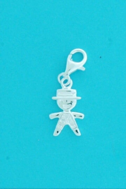 Genuine 925 Sterling Silver Clip On Gingerbread Man With Stone Detail