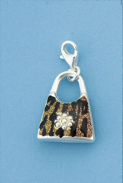 Genuine 925 Sterling Silver Clip On Handbag Charm With Enamel Tiger Print Design