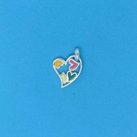 Genuine 925 Sterling Silver Cut Out Heart Pendant With Multicolour Enamel Finish