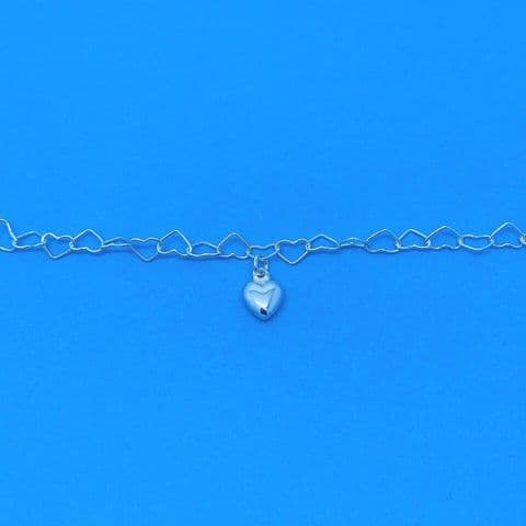 Genuine 925 Sterling Silver Cut Out Heart W Solid Heart Adjustable Length Anklet