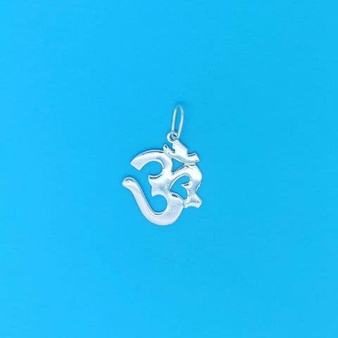 Genuine 925 Sterling Silver Cut Out Hindu Ohm Religious Pendant