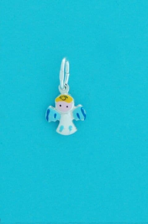 Genuine 925 Sterling Silver Cute Baby Angel Charm With Enamel Colour Finish