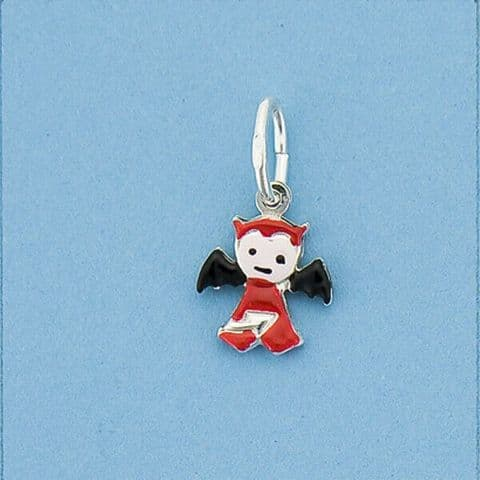 Genuine 925 Sterling Silver Cute Baby Devil Charm With Enamel Colour Finish