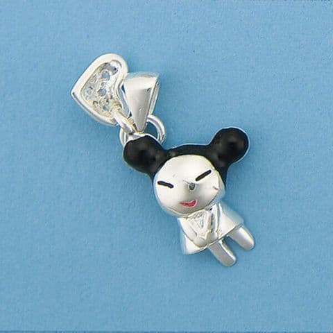Genuine 925 Sterling Silver Cute Cartoon Character with Enamel & Cubic Zirconia