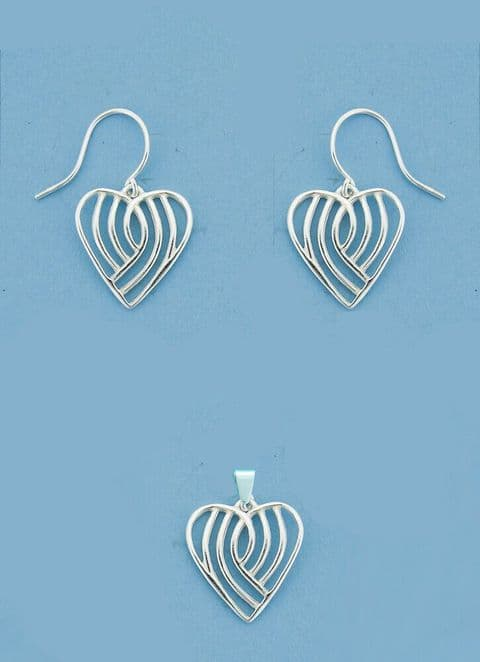 Genuine 925 Sterling Silver Fancy Cut Out Heart Drop Earring And Pendant Set