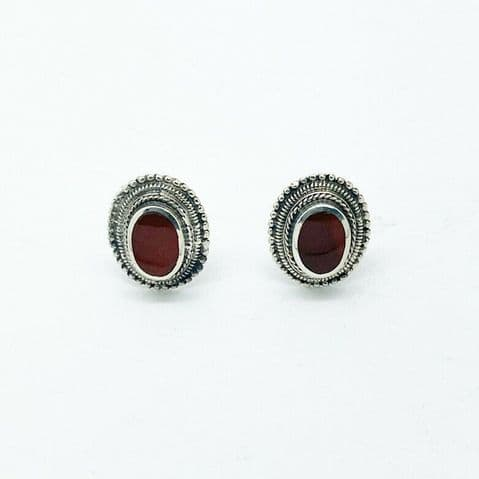 Genuine 925 Sterling Silver Fancy Oval Cornelian Stud With Dotted Frame Detail