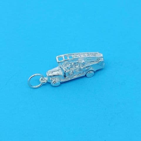 Genuine 925 Sterling Silver Fire Engine Charm / Pendant