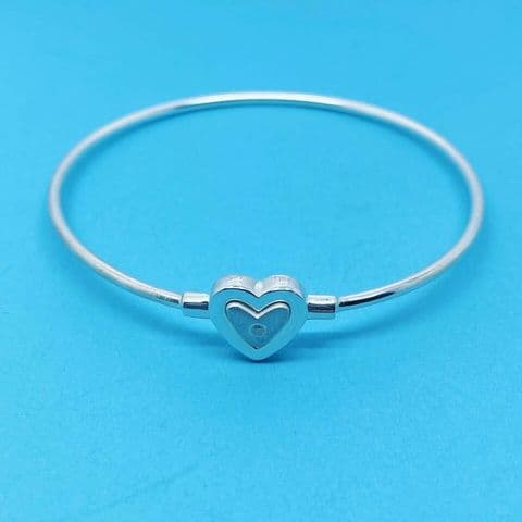 Genuine 925 Sterling Silver Hallmarked Heart Clasp Bangle set with Real Diamond