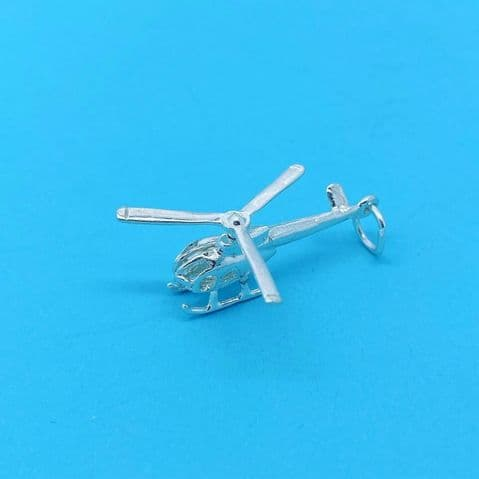 Genuine 925 Sterling Silver Helicopter Charm / Pendant with Rotating Propeller