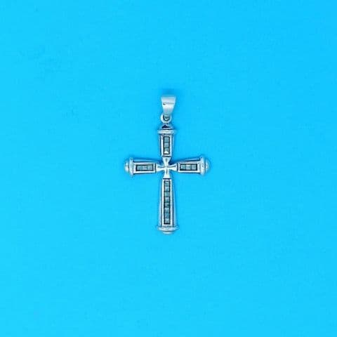 Genuine 925 Sterling Silver Jesus Christ Cross Pendant Set With Marcasite