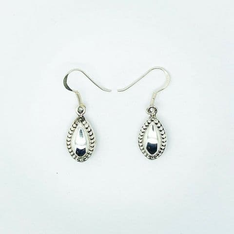 Genuine 925 Sterling Silver Marquis Drop Earrings With Dotted Edge On Hook Wire