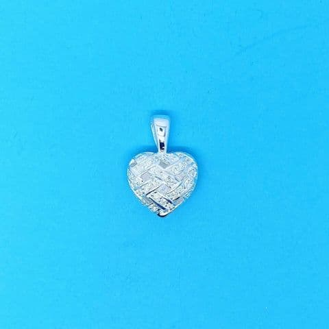 Genuine 925 Sterling Silver Plaited Puff Heart Pendant set with Cubic Zirconia