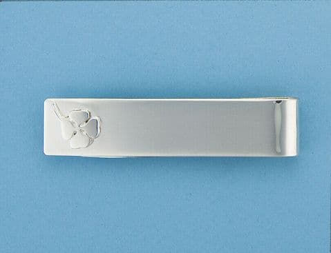 Genuine 925 Sterling Silver Polished Money Clip With Clover Design