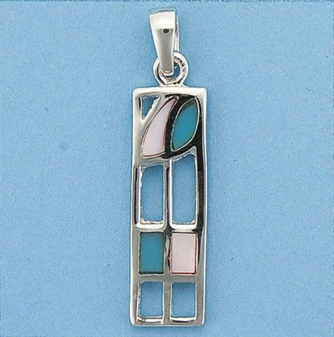 Genuine 925 Sterling Silver Rectangle Designer Style Pendant With Enamel Finish