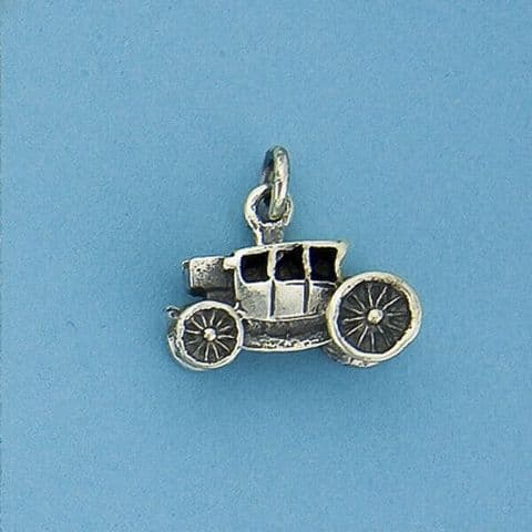 Genuine 925 Sterling Silver Royal Carriage Charm With Oxidized Detail