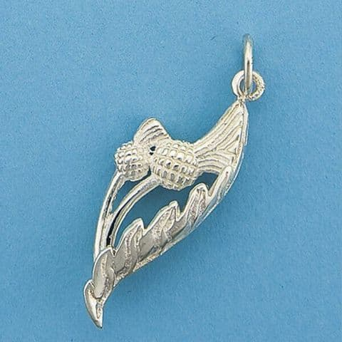 Genuine 925 Sterling Silver Scottish Thistle And Leaf Charm / Pendant