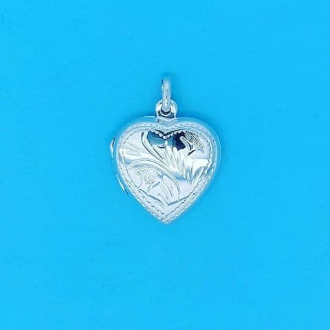Genuine 925 Sterling Silver Small Heart Locket Pendant With Engraved Pattern