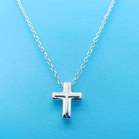 Genuine 925 Sterling Silver Small Polished Raised Cross Thread Through Pendant