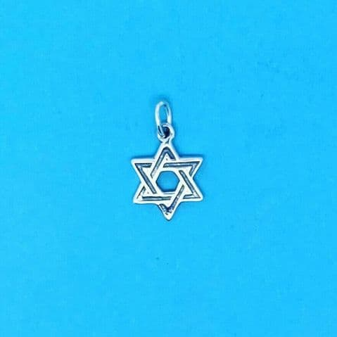 Genuine 925 Sterling Silver Small Star of David Charm / Pendant