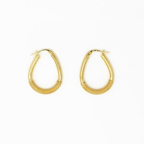 Genuine 9ct Gold 25mm Creole Hoop Earrings With Mesh Pattern Centre