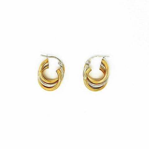 Genuine 9ct White Yellow And Rose Gold Triple Twist Hooped Earrings