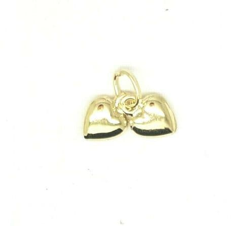 Genuine 9ct Yellow Gold 6mm x 8mm Double Heart  Charm / Pendant