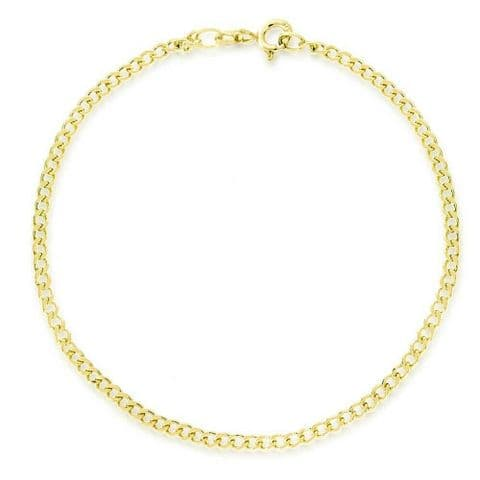 Genuine 9ct Yellow Gold Curb Chain Anklet/ Ankle Chain                      0185