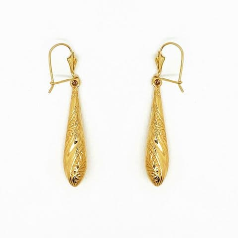 Genuine 9ct Yellow Gold Paisley Patterned Bomb Drop Earrings On Hook Wire 2 Size