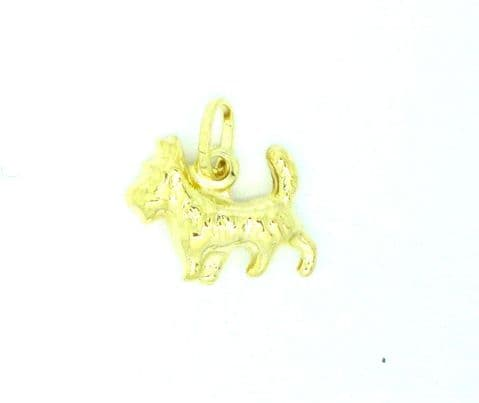 Genuine 9ct Yellow Gold Scotty Dog / Yorkshire Terrier Charm /Pendant       7073