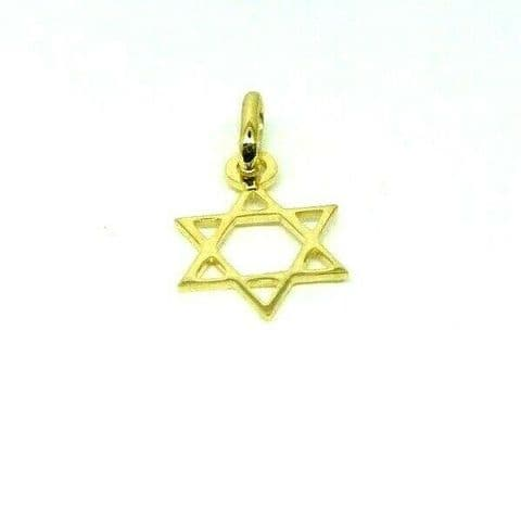 Genuine 9ct Yellow Gold Small Star of David Pendant / Charm                 2531