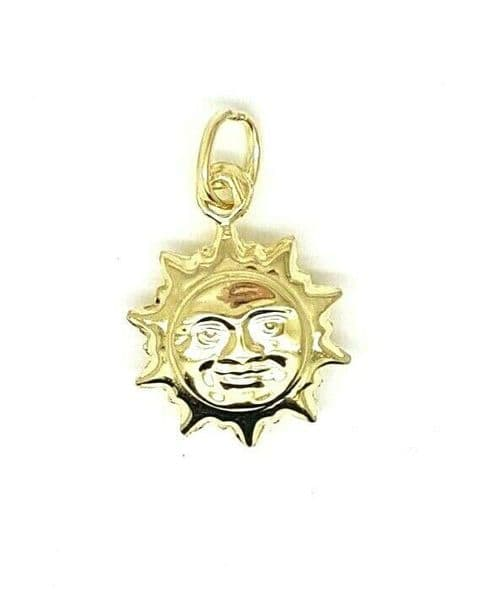 Genuine 9ct Yellow Gold Smiling Sun Charm / Pendant